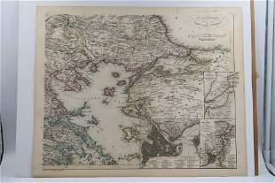 1842c Map IV Section d Europ Turkey in IV Blattern