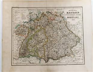 1847c Map Neueste Karte BAYERN and HOHENZOLLERN
