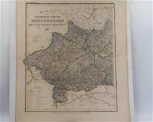 1849c Map ERZHERZOGTHUMS Oesterreich OB UND UNTER