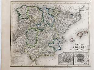 1843 Map SPANIEN und Portugal