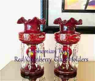 Bohemian Type RedCranberry Glass Holders