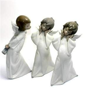 Three Lladro Angel Porcelain Figurines