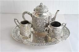 """Four Pcs """"German 800 Sterling Silver"""" Tea Set w/Tray"""