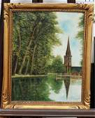 """By G. Degroodt Oil Painting """"Church"""""""