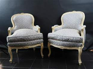 Pair Well Carved Louis XV Beach wood Fauteuils French,