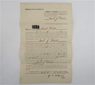 1885 Antique Authentic Document of PAUL J WHITE