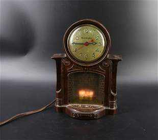 Antique lit fire place clock Master crafters USA