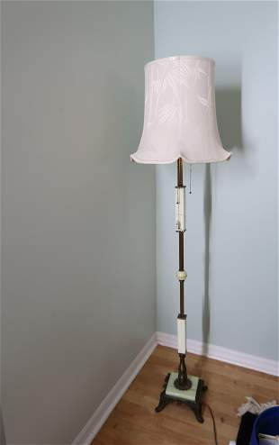 Vintage Standing Corner Lamp Marble & Brass