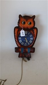 Wooden Wink Owl Clock  w/ Pendulum