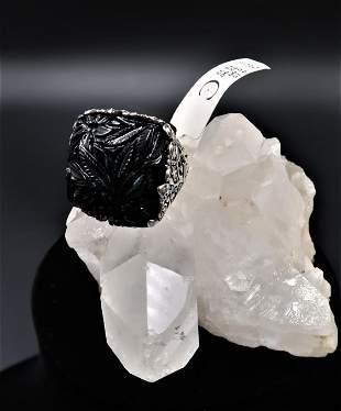 Vintage Gothic Black Onyx 925 Silver Ring