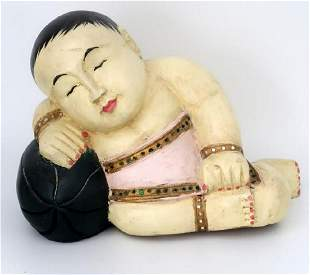 White Buddah Carved Out of Wood Vintage