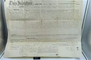 1860 Antique INDENTURE Document by GEORGE HELLER