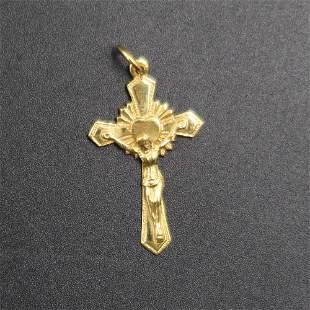 18k Gold Detailed Crucifix Cross Pendant 14g