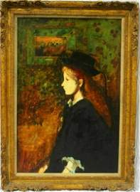 Donald Roy Purdy (1924 - ) Signed Oil Painting Lady in