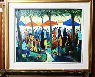 Bruno Jaubert French Signed Oil Painting on Canvas