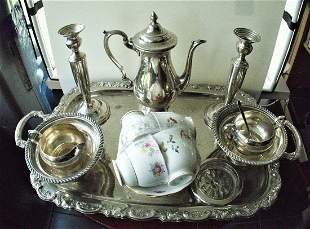 Exquisite ROSE Pattern Sterling 4 Pc TEA set COFFEE