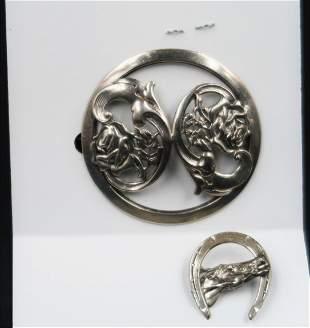 Antique Art Noluveau Large Pin Good Luck Horse Pin