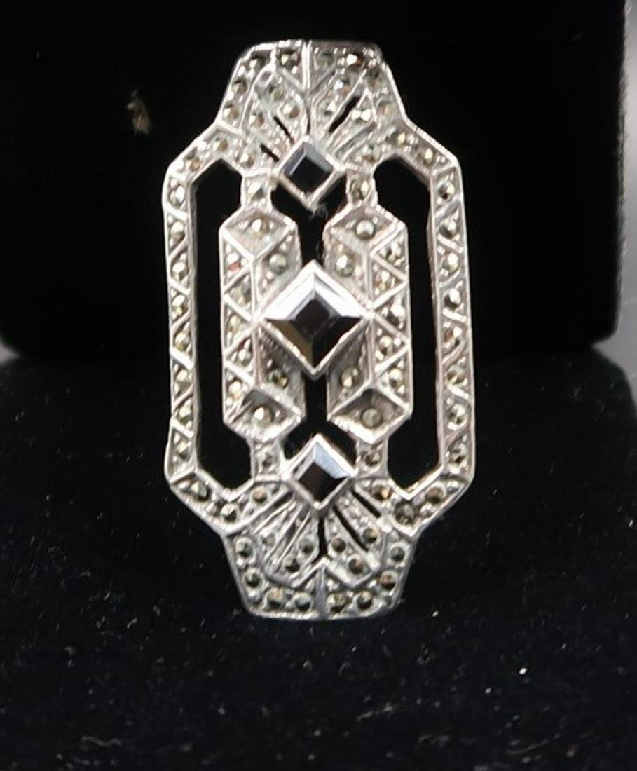 Antique Sterling Marcasite Onyx Brooch