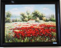 Painting oil on canvases Red poppies fields