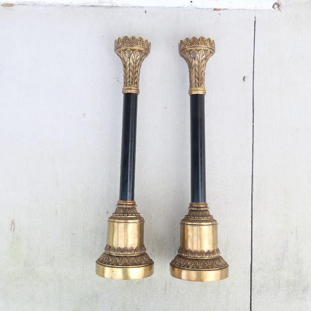 Large Estate Antique Candle Holders