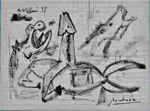"""Picasso """"Wild Horses Study"""" Original Circa 1937"""