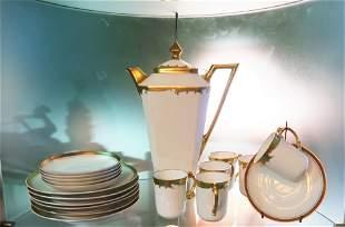 German Bavarian Fine Demitasse Porcelain Pot 4 Cups and