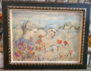 by Edna Hibel Two Flower Girls