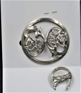 Antique Art Noluveau Large Pin & Good Luck Horse Pin