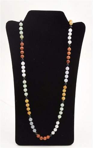 Vintage jade and jadeite necklace