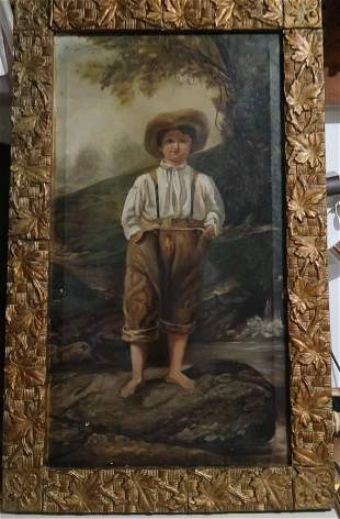 GERMAN FEAK ART A YOUNG DUTCH BOY PAINTING OIL ON