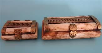 Vintage Brass & Bone Trinket Boxes