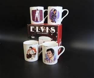 (4) Elvis Presley Collector Mugs