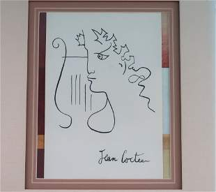 "Jean Cocteau Original Pen & Ink ""Man with Harp"""