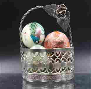 Silver Basket with Semi Eggs