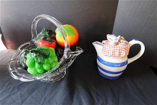 Ceramic Pitcher and Glass Basket with Glass Fruit