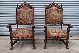 1910s 2 (Two) Fire Side Tapestry carved Mahogany Chairs
