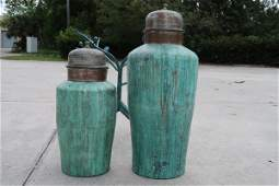 Pair of Patina Copper Large earns with cover tops