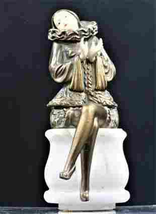 Art Deco Bronze and Onyx Base Statue by La Pier c1929