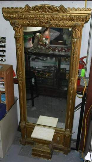 Antique French Rococo Gilt wood Pier Mirror with Marble