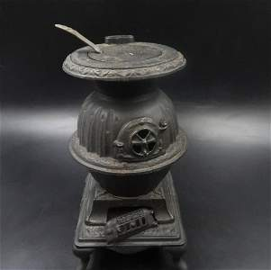 Antique Excelsior Globe Cast Iron Pot Belly