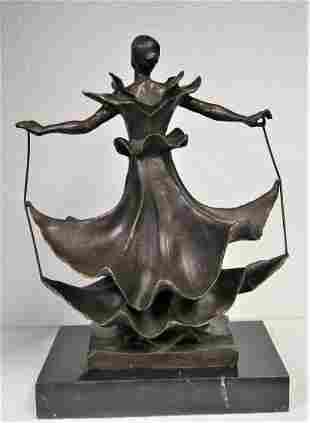 Salvador Dali Sculpture Green Patina Dalinain Girl