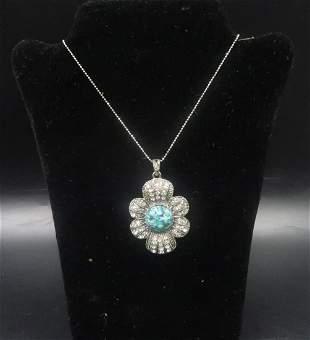 Vintage SterlSilver Turquoise Pendant w/ Chain