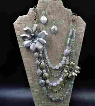 Vintage Multi Layered Necklace w/ Earings