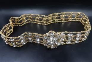 Gold Belt w/ Cubic Zirconia