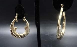 Dolphins Gold Hoop Earrings