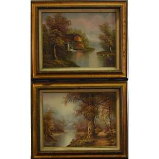 (2) Oil On Canvas signed by artists