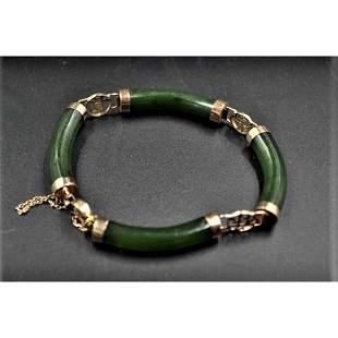 14K gold and Dark Green jade bracelet Bangle W/Clasp