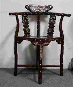 Chinese Chair Vintage Mother of Pearl inlay Black