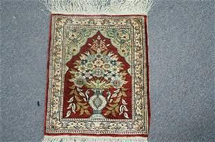 Silk Turkish Hereke Hand Knotted Prayer Meditation Rug