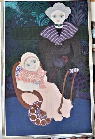 "by Daniele Akmen"" Mother & Child Acrylic on"